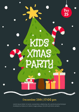 Kids Christmas Party invitation template. Flat cartoon illustration with christmas tree, gifts and falling snow. Flyer for children's event in hand drawn style. Winter holidays card design. Foto de archivo - 127723822