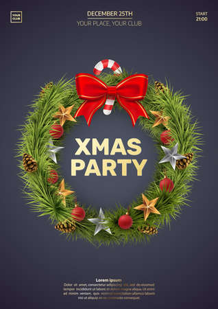 Christmas party invitation template. Christmas wreath isolated on dark background. Spruce wreath with golden stars, balls, red bow and lollipop. Xmas greeting card concept. Vector eps 10.