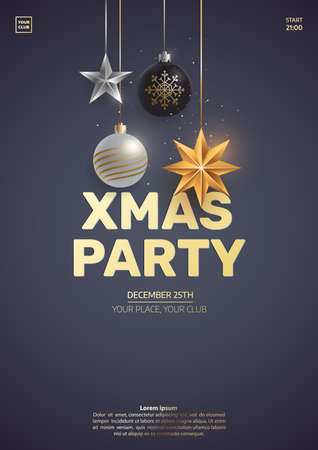 Christmas party invitation design. Hanging christmas toys on dark background. Xmas greeting card concept. Traditional winter holidays elements. Vector eps 10.