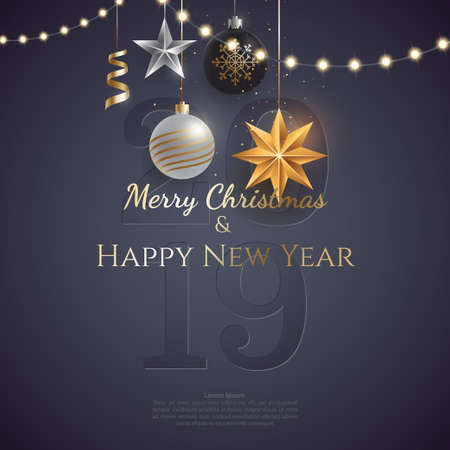 Merry christmas and happy new year greeting card concept. Hanging christmas toys and garlands with light bulbs on dark background. Xmas poster template. Vector eps 10. Foto de archivo - 127723825