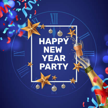 Happy New Year party invitation. Composition with a festive frame, clock face, colorful confetti and a shot of champagne. New Year greeting card template. Vector illustration Foto de archivo - 127723827