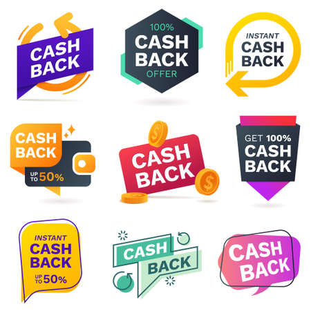 Cash back icons set. Colorful cashback banner collection. Money refund signs. Return of money from purchases. Promotion badges for your business. Vector illustration. Foto de archivo - 127618565