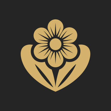 Simple flower icon. Pictogram of flower with bud and petals. Decorative element for your design. Vector eps 10. Foto de archivo - 127618566