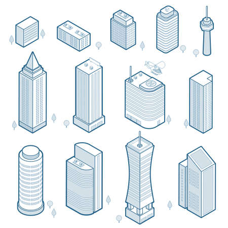 Isometric outline modern buildings set. Isometric city skyscrapers icons isolated on white backround. Linear pictograms of urban architecture. Elements for your design. Vector eps 10.