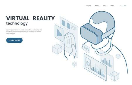Virtual reality and augmented reality vector illustration. Man with VR glasses experiencing user interface. Isometric outline style. The future of information and entertainment technology. Eps 10.