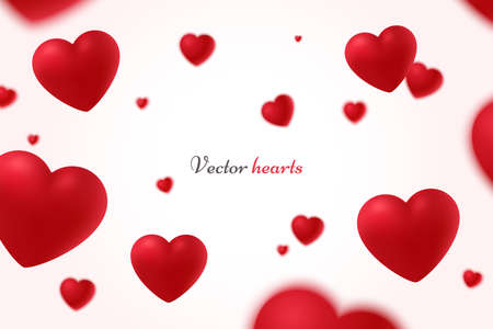 Falling red hearts isolated on white background. Symbol of love. Vector illustration with beauty 3d hearts. Applicable for design of wedding greeting cards and St. Valentine's Day. Eps 10 Foto de archivo - 127200373