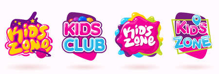 Kids zone colorful banner set. Colorful caramel text on abstract background. Sign for childrens game room. Funny cartoon frames. Bright decoration element for childish party. Vector Stock Illustratie