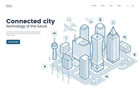 Smart city isometric thin line illustration. Intelligence buildings. Streets of the city connected to computer network. Urban infrastructure. Business center with skyscrapers. Vector eps 10. Иллюстрация