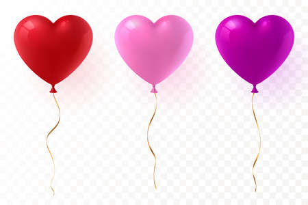 Vector heart shaped balloons set isolated on transparent background. Red, pink and purple glossy balloon with gold ribbon. Festive decoration element for Valentine's Day or Wedding. Eps 10. Foto de archivo - 127063949