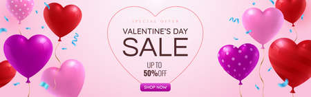 Valentines day Sale promotion web banner with glossy red, pink and purple balloons on pinky background. Falling blue festive confetti. St. Valentines Day greeting card template. Vector