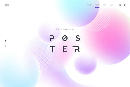 Vector background with abstract neon shapes in gradient pastel colors. Poster with blurred effect. Asymmetric composition. Applicable for landing page, invitation, advertisement. Eps 10 Foto de archivo - 127063952