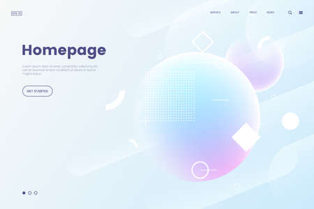 Vector homepage template with abstract dynamic background. 3d shpere with geometric pattern. Soft light background in modern gradient color. Backdrop for web site. Eps 10.
