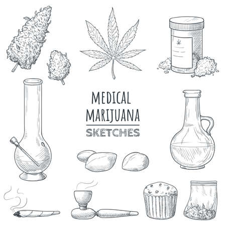 Medical marijuana hand drawn sketches. Marijuana buds, cannabis leaf, weed joint, bong, oil, smoking pipe, bake, packing bag, ganja seeds. Elements for your design in doodle style. Vector eps 10.