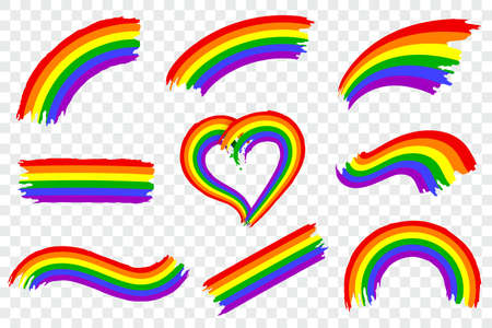 Set of LGBT pride color splash isolated on transparent background. Dynamic rough paint brush stroke in the colors of lgbt movement. Rainbow gay pride symbol. Vector illustration. Foto de archivo - 127785060