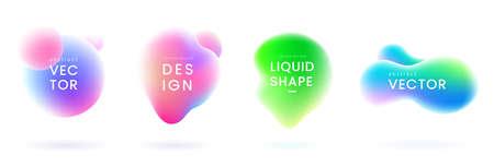 Flüssigkeitsgradientenkleckse eingestellt. Abstrakte flüssige Formen mit Chamäleoneffekt. Bunte flüssige Abzeichen. Dekorative Elemente für Ihr Design. Vektoreps 10.