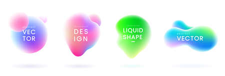 Liquid gradient blobs set. Abstract fluid shapes with chameleon effect. Colorful liquid badges. Decorative elements for your design. Vector eps 10.