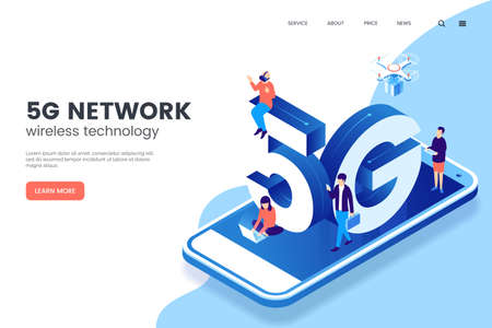 5G network wireless technology vector illustration. Isometric smartphone with big letters 5g and tiny people. High-speed mobile Internet. Using modern digital devices. Web page template.