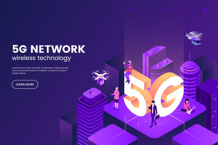 5G network wireless technology vector illustration. Isometric smart city with big letters 5g and tiny people. Modern city connected to global network. Internet in urban environment. Foto de archivo - 127785058