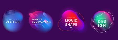 Set of abstract liquid banners in different neon colors. Modern fluid gradient elements with light effect. Abstract backgrounds for club party invitation, web, advertisement. Vector eps 10. Foto de archivo - 126235220