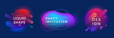 Modern Liquid shapes set. Abstract shapes in different neon colors. Colorful dynamic badges with light effect. Applicable for club party invitation design, social post, web banner. Vector eps 10.