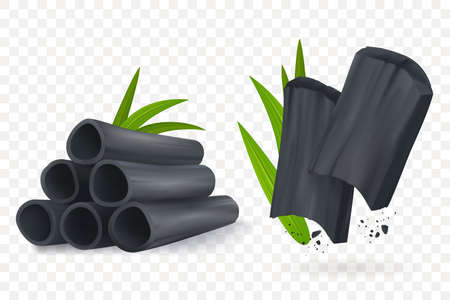 Bamboo charcoal vector illustration. Realistic Cosmetic charcoal isolated on transpartent background. Pieces of activated carbon. Natural component. Eps 10. Иллюстрация