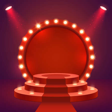Stage podium with ceremonial red carpet and lighting. Empty Scene for award ceremony with round frame and light bulbs. Two spotlights illuminate the pedestal. Vector illustration. Иллюстрация