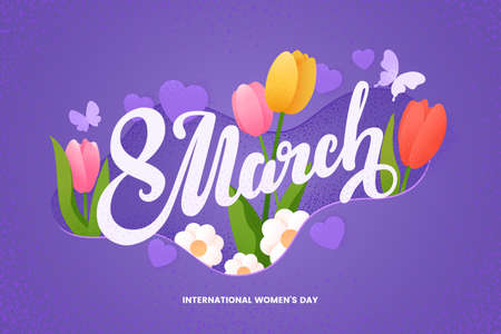 8 March lettring. Womens day vector greeting card with decor of tulips, chamomiles, hearts and butterflies. Flat illustration with grain texture effect. Applicable for web banner, cards, invitation. Иллюстрация