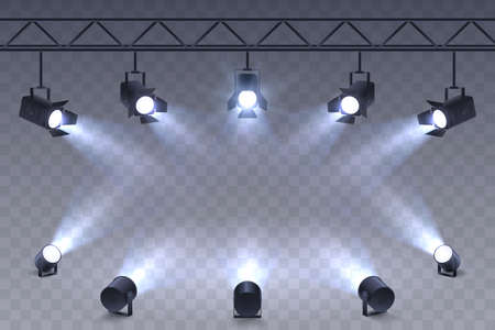 Realistic Spotlights isolated on transparent background. Scene illumination. Suspended and standing lighting. Elements for photo studio, show, scene. Vector illustration. Foto de archivo - 125842004