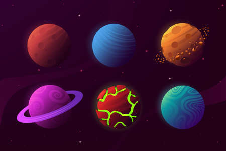 Set of planets in cartoon style isolated on space background. Colorful fantastic planets with different textures. Celestial body collection. Decoration for your design. Vector eps 10.