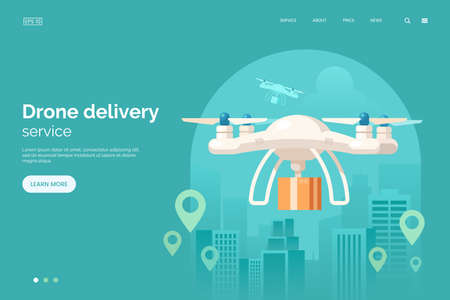 Delivery drone with parcel box flying in city vector illustration. Quadcopter delivery service landing page concept. Large modern white cargo drone. Flat style. Eps 10. Foto de archivo - 117160261