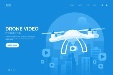 Drone with digital camera flying in city vector illustration. Shooting video from the drone landing page concept. Large modern white quadrocopter. Flat style. Иллюстрация