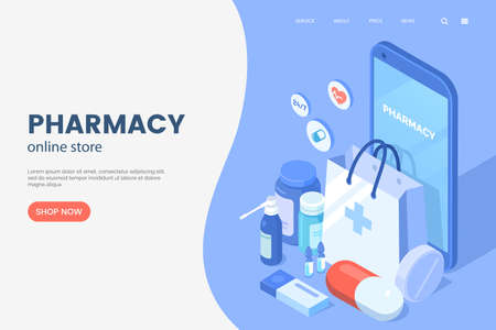 Online pharmacy isometric illustration. Smartphone with shopping bag, medical supplies, bottles liquids and pills. Drug store web page concept. Pharmacy purchases. Vector