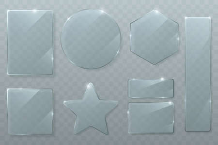 Vector glass plates set isolated on transparent background. Glossy texture of clear glass with bright highlights. Circle, square, rhombus, rectangle and star. Transparent banners. Иллюстрация