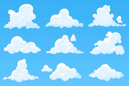 Vector cartoon clouds isolated on blue sky. Set of white cumulus clouds. Cloudy heaven background. Illustration for your design. Eps 10. Foto de archivo - 124529905