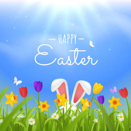 Happy easter greeting card. Easter rabbit ears sticking out of the grass vector illustration. Green lawn with spring flowers against the sky. Bright natural background.