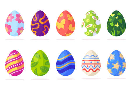 Set of Easter eggs with different patterns isolated on white background. Traditional easter element in flat cartoon style. Spring holiday. Vector illustration. Foto de archivo - 124529907