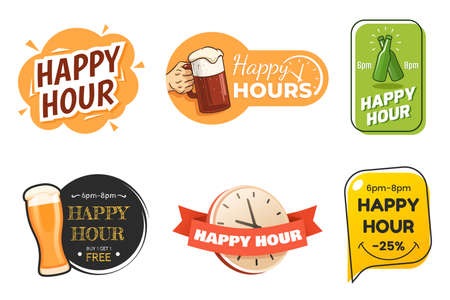 Happy hour banner collection. Colorful badges in different styles. Special offer for bar, cafe, club. Signs with beer glasses and text. Applicable for menu design, flyers, posters. Vector
