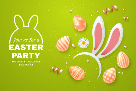 Easter Holiday light green background with bunny ears headband, easter eggs and scattered golden confetti. Top view composition. Template for greeting card, party invite, promo. Vector illustration. Illustration