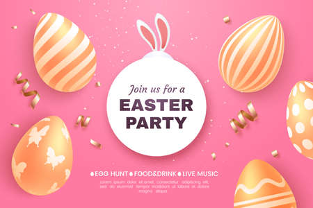 Easter party invitation banner. Composition of golden Easter eggs and confetti on a pink background. Sticking bunny ears. Applicable for greeting card, holiday sale, etc. Vector illustration.