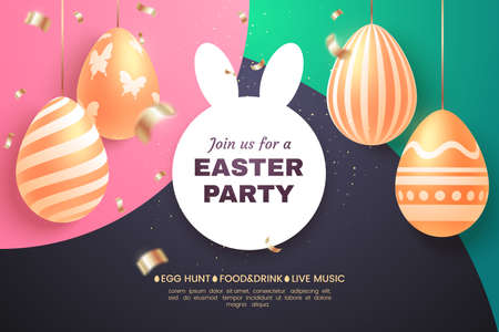 Easter party holiday banner. Composition with golden Easter eggs and confetti on a colorful background. Applicable for greeting card, sale poster, invitation, etc. Vector illustration. Foto de archivo - 127785068
