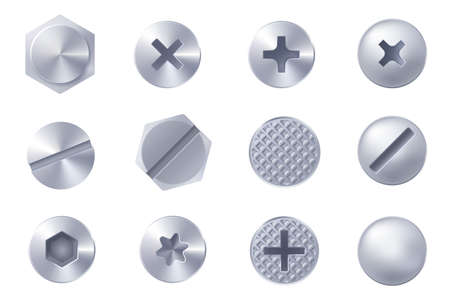 Set of metal screw heads isolated on white background. Collection of different heads of bolts, screws, nails, rivets. View from above. Decorative elements for your design. Vector Foto de archivo - 127785073