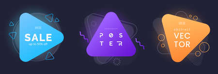 Abstract triangle banners with bright effect isolated on dark background. Neon badges collection. Abstract geometric shapes. Dynamic composition. Use for advertising, party invite, etc. Vector
