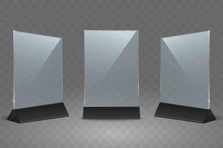 Tischständer aus Acryl. Tischschilder aus Kunststoff für das Büro. Leerer transparenter Glaskartenhalter für Flyer im A4-Format. Verwendung für Restaurantmenü, Poster, Foto, Werbung. Vektor-Mock-up. Vektorgrafik