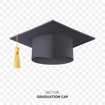 Vector black graduate cap with gold tassel isolated on transparent background. Square academic cap for graduation ceremony. Element for your design. Eps 10. Foto de archivo - 124017412