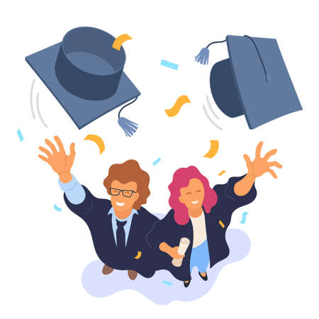 Two happy college graduates throwing academic caps vector illustration. View from above. Happy graduation. Cartoon smiling university students. Flat style. Eps 10. Foto de archivo - 124017413