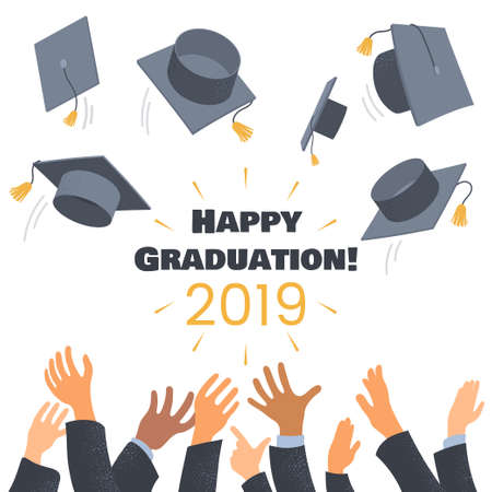 Graduates throwing graduation caps in the air. Composition with hands of students and academic caps. Flat style. Greeting card for education ceremony. Vector illustration. Foto de archivo - 123824909