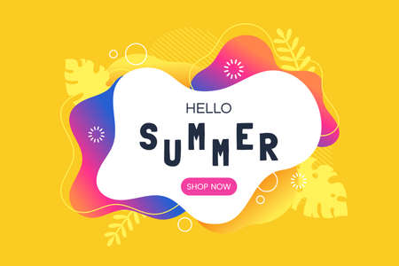 Hello summer vector illustration. Summer sale web banner template. Colorful abstract background with silhouettes of tropical leaves. Promotion offer. Applicable for flyer, social networks, poster. Foto de archivo - 123824910
