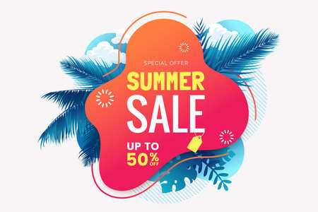 Summer sale banner template. Summer abstract geometric background with palm leaves and clouds. Tropical backdrop. Promo badge for your seasonal design. Vector illustration. Foto de archivo - 123824911