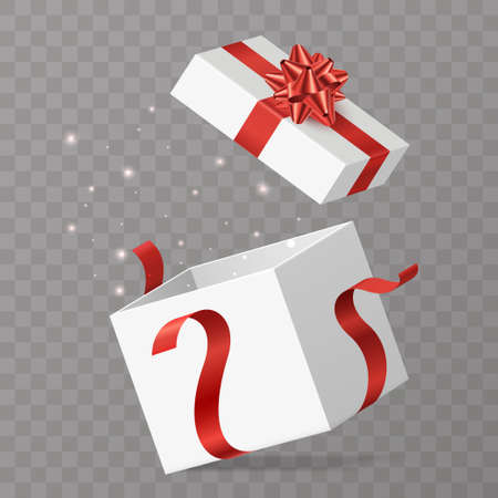 Opened gift box vector illustration. White surprise box with red bow and lighting particles. Isolated on transparent background. Element for your celebration design. Eps 10. Foto de archivo - 123434083