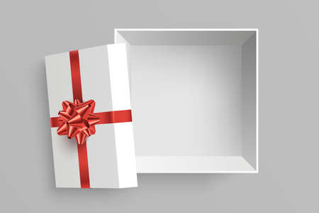 Open gift box vector illustration. Opened square surprise box with red bow and ribbon isolated on grey background. View from above. Element for your design. Eps 10, Foto de archivo - 123434084